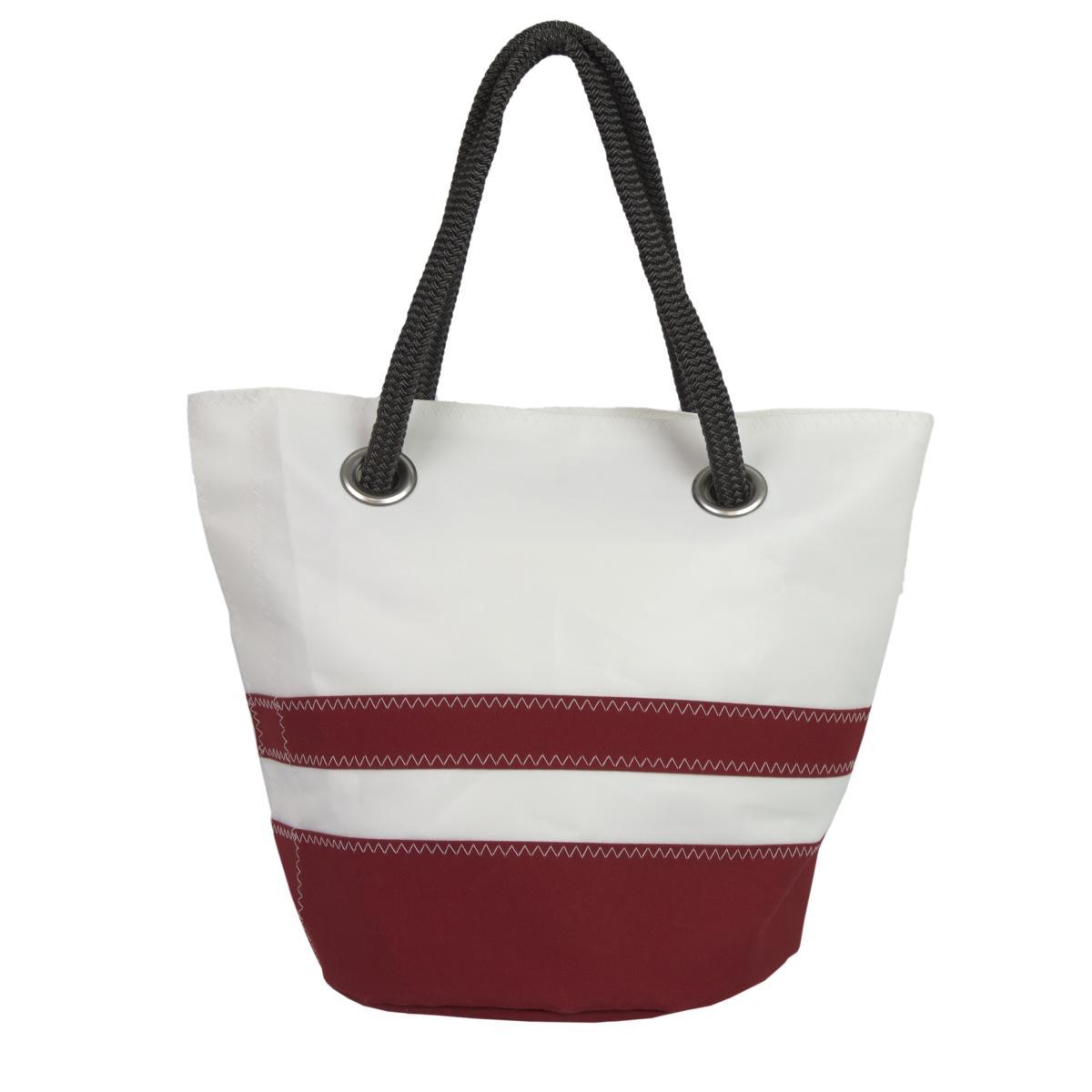 Sandy Tasche Dacron natur mit roten Streifen Rückseite