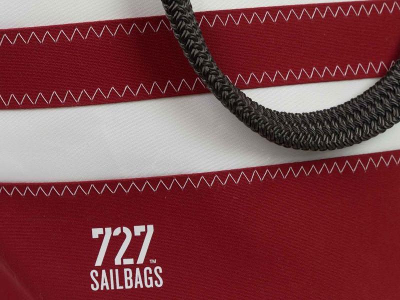 Sandy Tasche Dacron natur mit roten Streifen mit 727Sailbag Logo