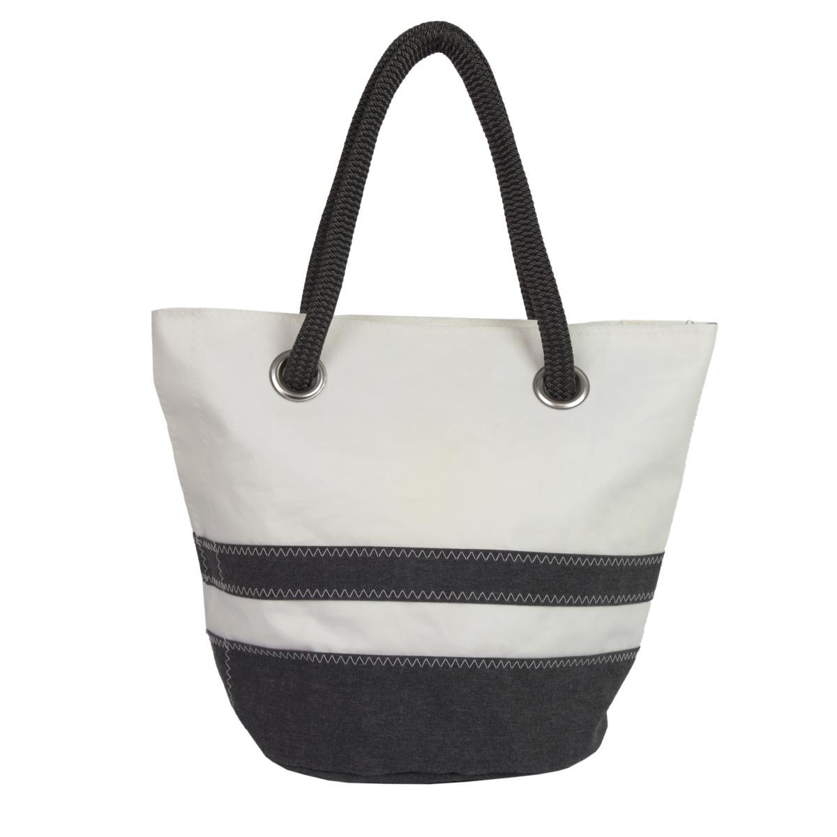 Sandy Tasche Dacron natur mit schwarzen Streifen Rückseite