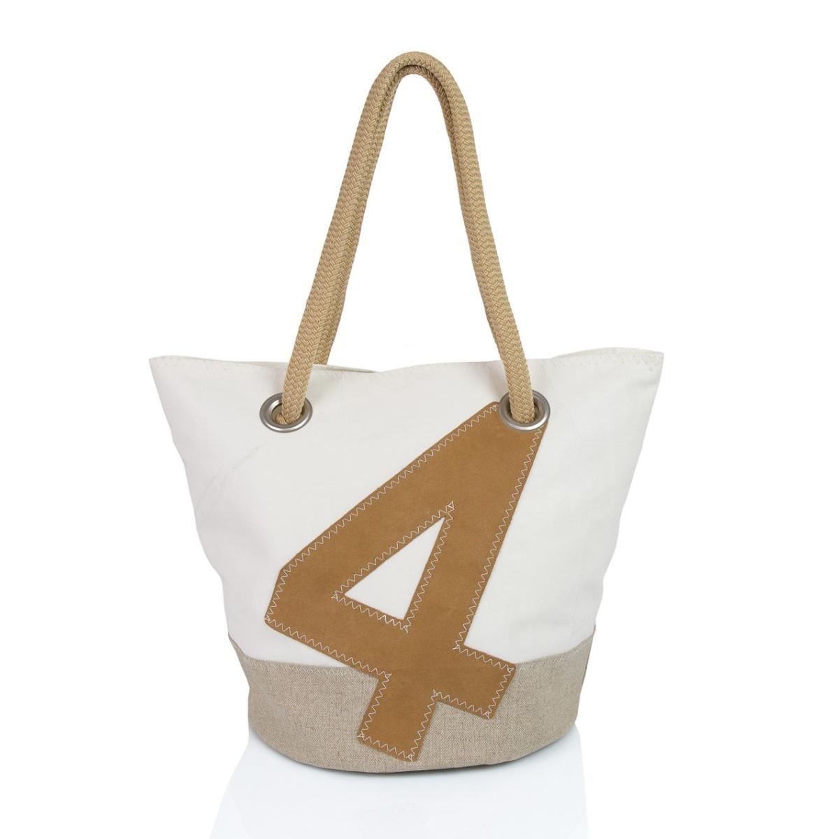 Sandy Tasche Leinen und Leder mit Nummer 4 Leder