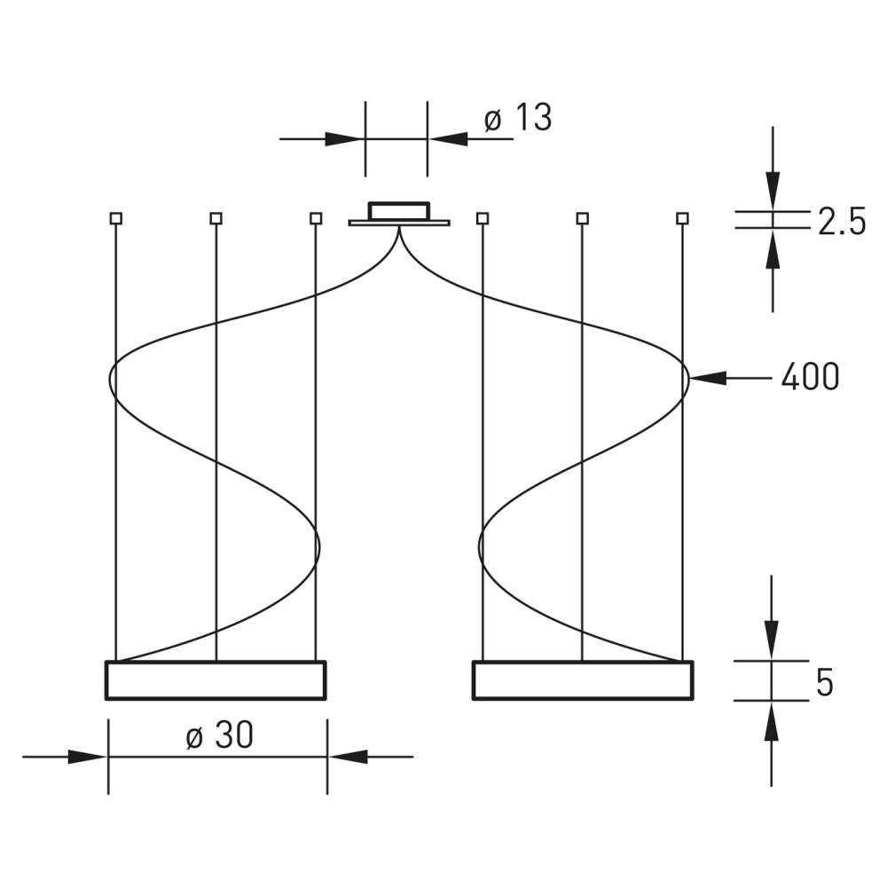 ALURING LED 2er Pendelleuchte Technische Zeichnung