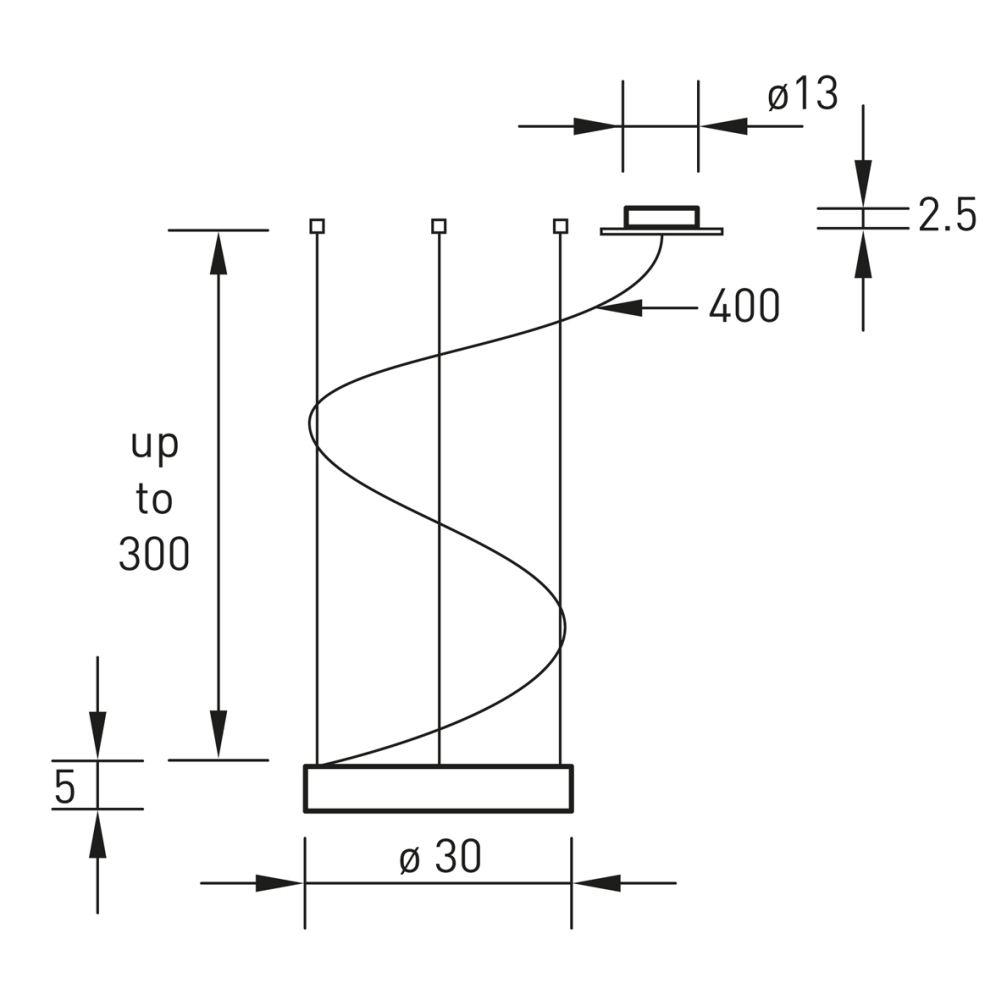 ALURING LED Einzelaufhängung Technische Zeichnung
