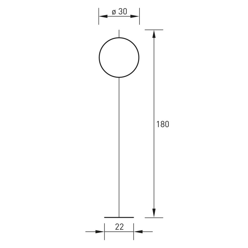 Technische Zeichnung GLOBUS Stehleuchte 180 cm