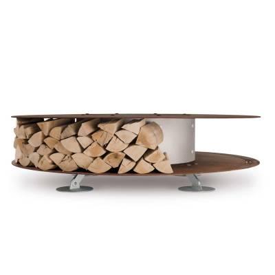 ZERO Feuerstelle Ø 145 cm mit Aufbau von Feuerholz rundherum