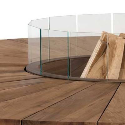 ARTU Feuerstelle 300 cm, Detail Glasscheiben