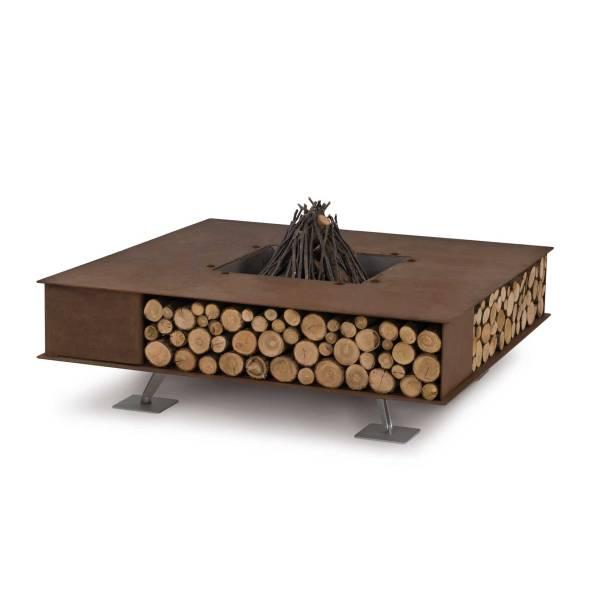 TOAST Feuerstelle, 125x125 cm, Stahl natur, mit Holz-Lager