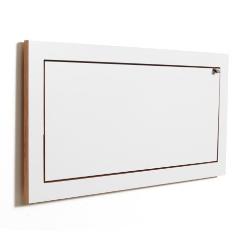 Wandregal 80x40x1 weiß lackiert zugeklappt