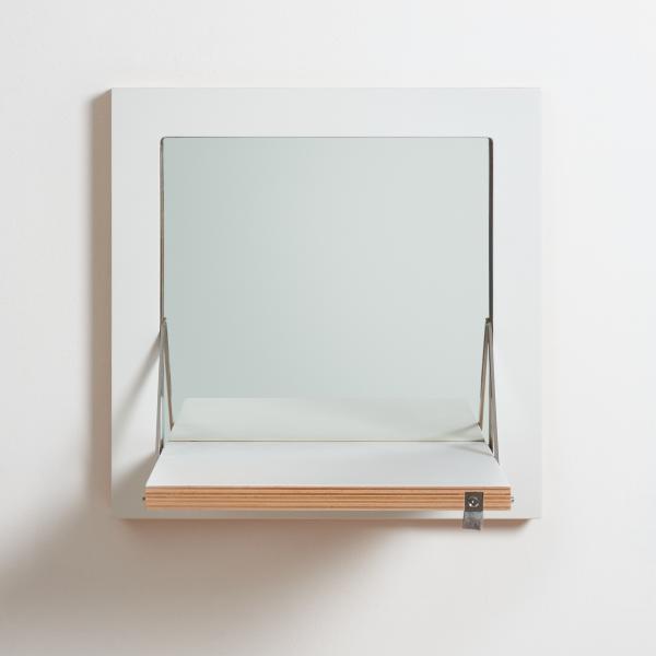 FLÄPPS Schminkspiegel 40x40 cm, weiß lackiert