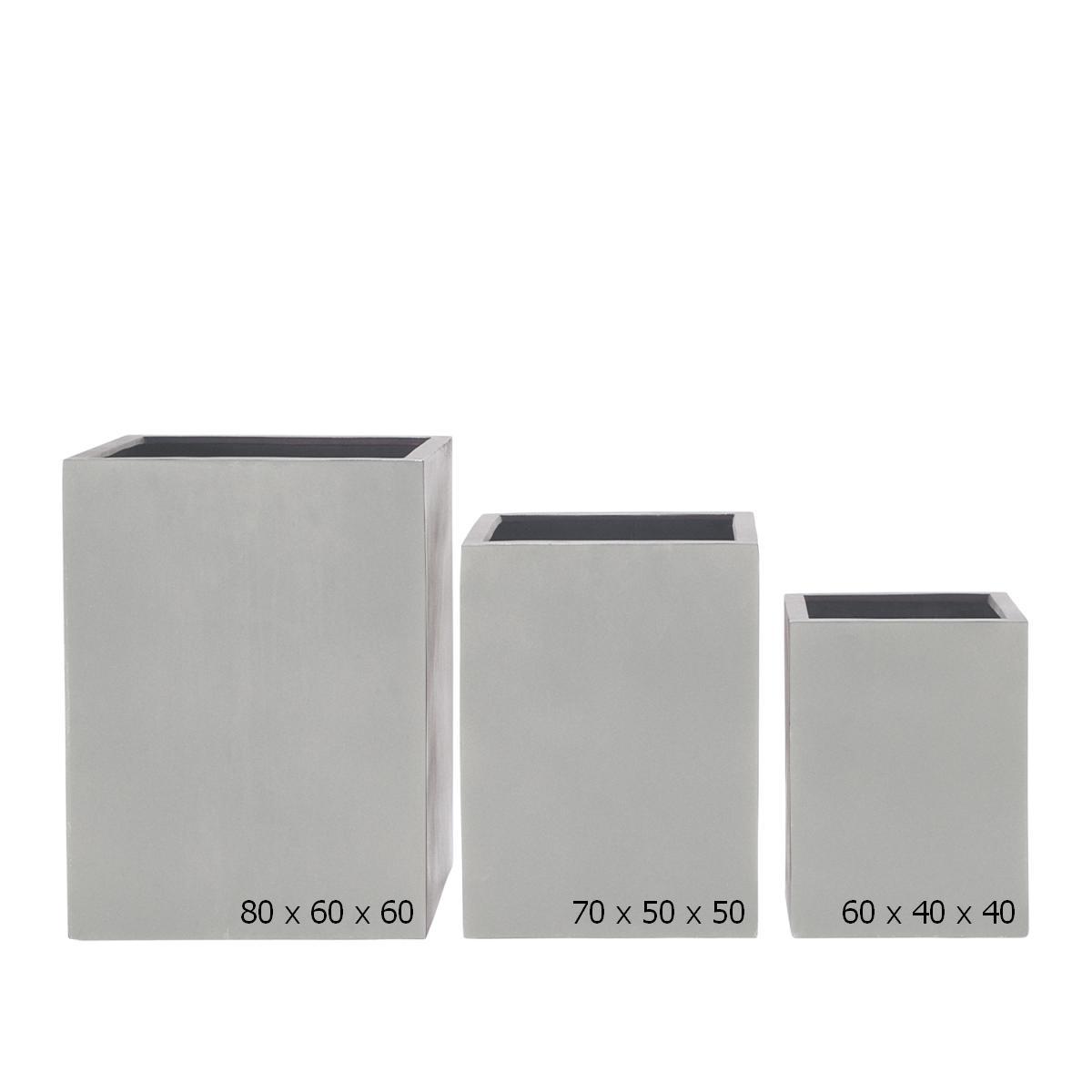 STONEFIBER der hohe Quadratische Pflanzkübel 80 grau