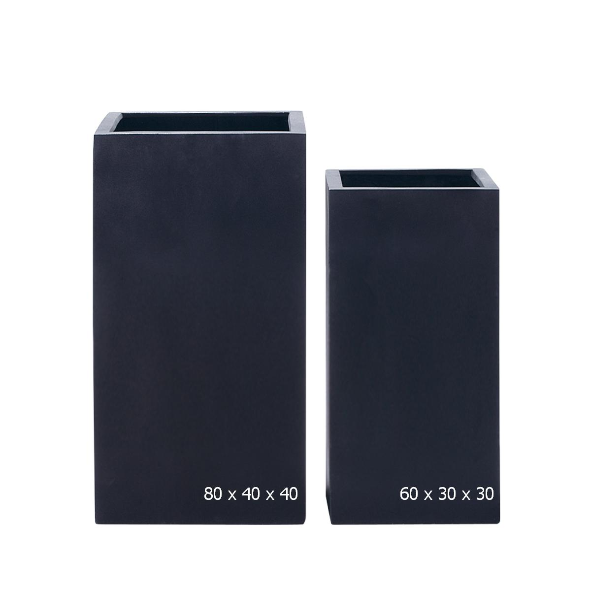 STONEFIBER der hohe Quadratische Blumentopf H80 schwarz