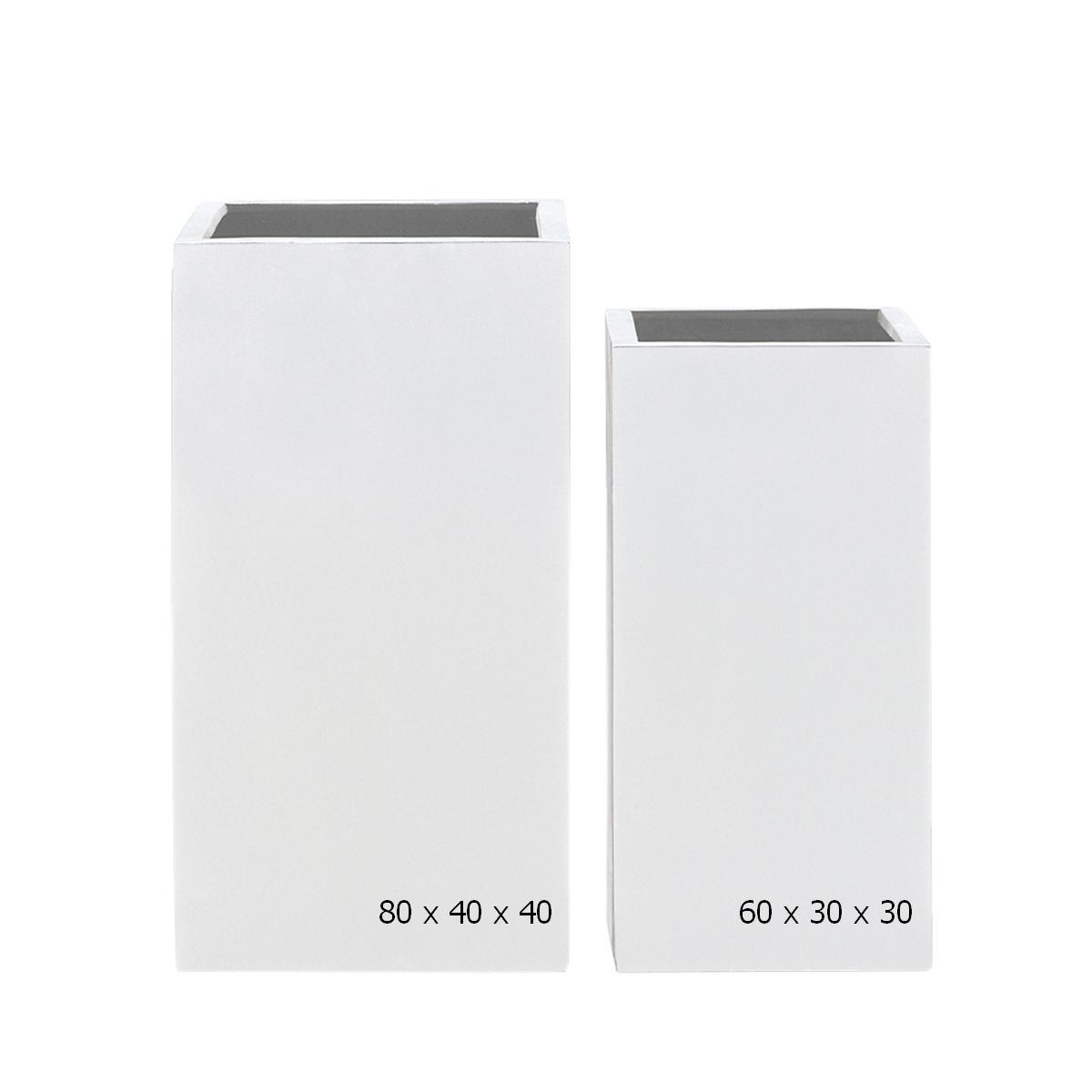 STONEFIBER der hohe Quadratische Pflanzsäule H80 weiß