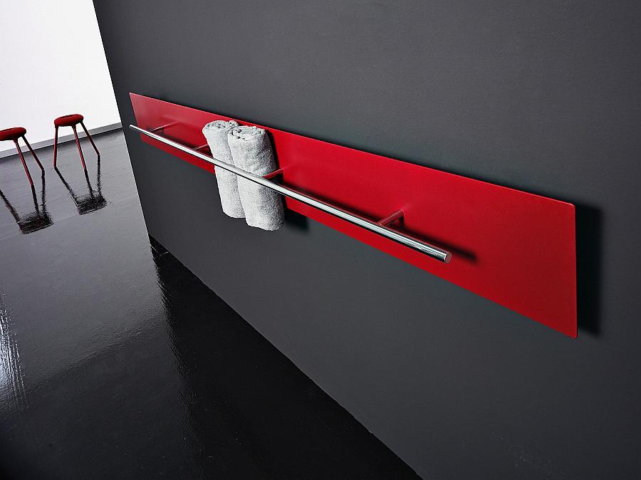 TESO Handtuchwärmer, horizontal, rot lackiert, Handtuchstange chrom