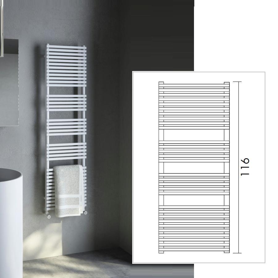 H_20 BATH Heizkörper / Handtuchwärmer, Höhe 116 cm, Breite und Ausführung nach Wahl