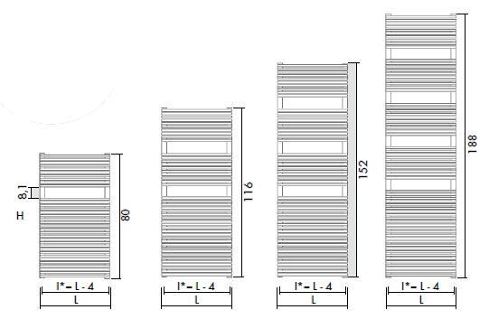 Antrax Design-Heizkörper TRIM-BATH alle Größen