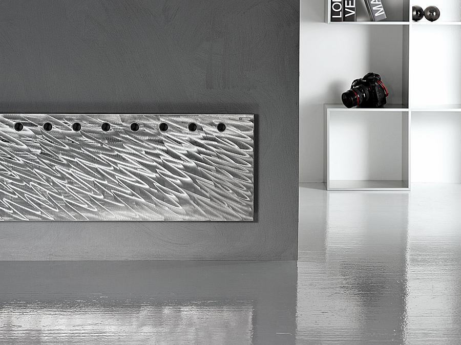 FLAT OS single INOX Design-Heizkörper, 49.5x172.5 cm, Edelstahl gebürstet