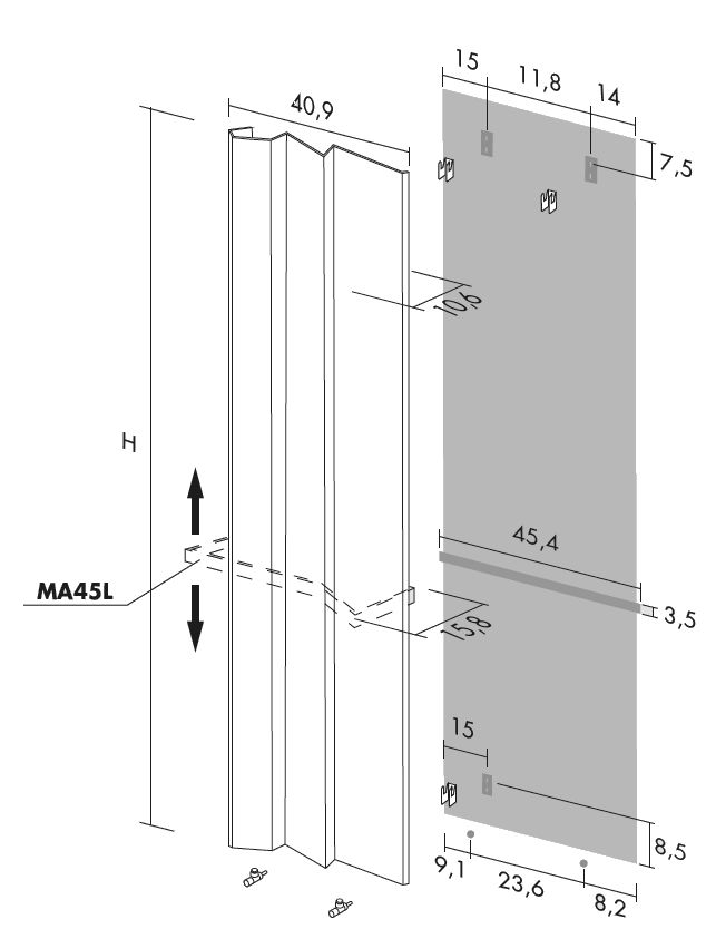 Antrax Design-Heizkörper ANDROID vertikal V2, 40,9 cm breit, technische Daten