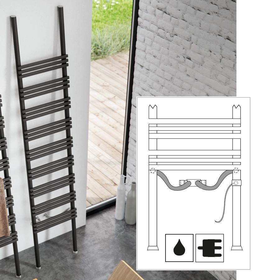 PIOLI Leiter Design-Heizkörper DUAL Wasser+Elektrisch, Größe und Ausstattung nach Wahl