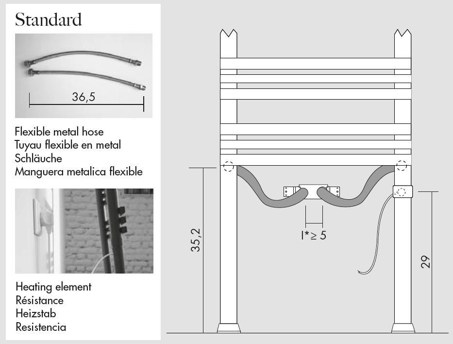 Detail von PIOLI Heizkörperleiter mit DUAL-Anschluss