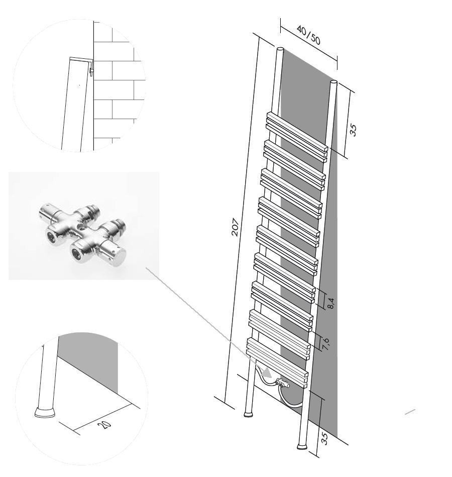 Details für PIOLI Heizkörperleiter mit Warmwasseranschluss