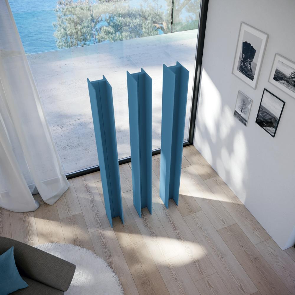 Antrax Design-Heizkörper T-TOWER, 3 Stück in blau, von oben