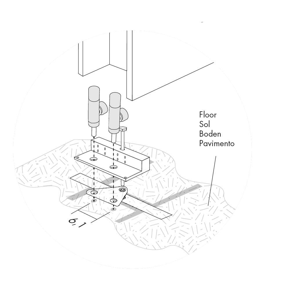 Bodenanschluß auf der Rückseite für Antrax Design-Heizkörper T-TOWER