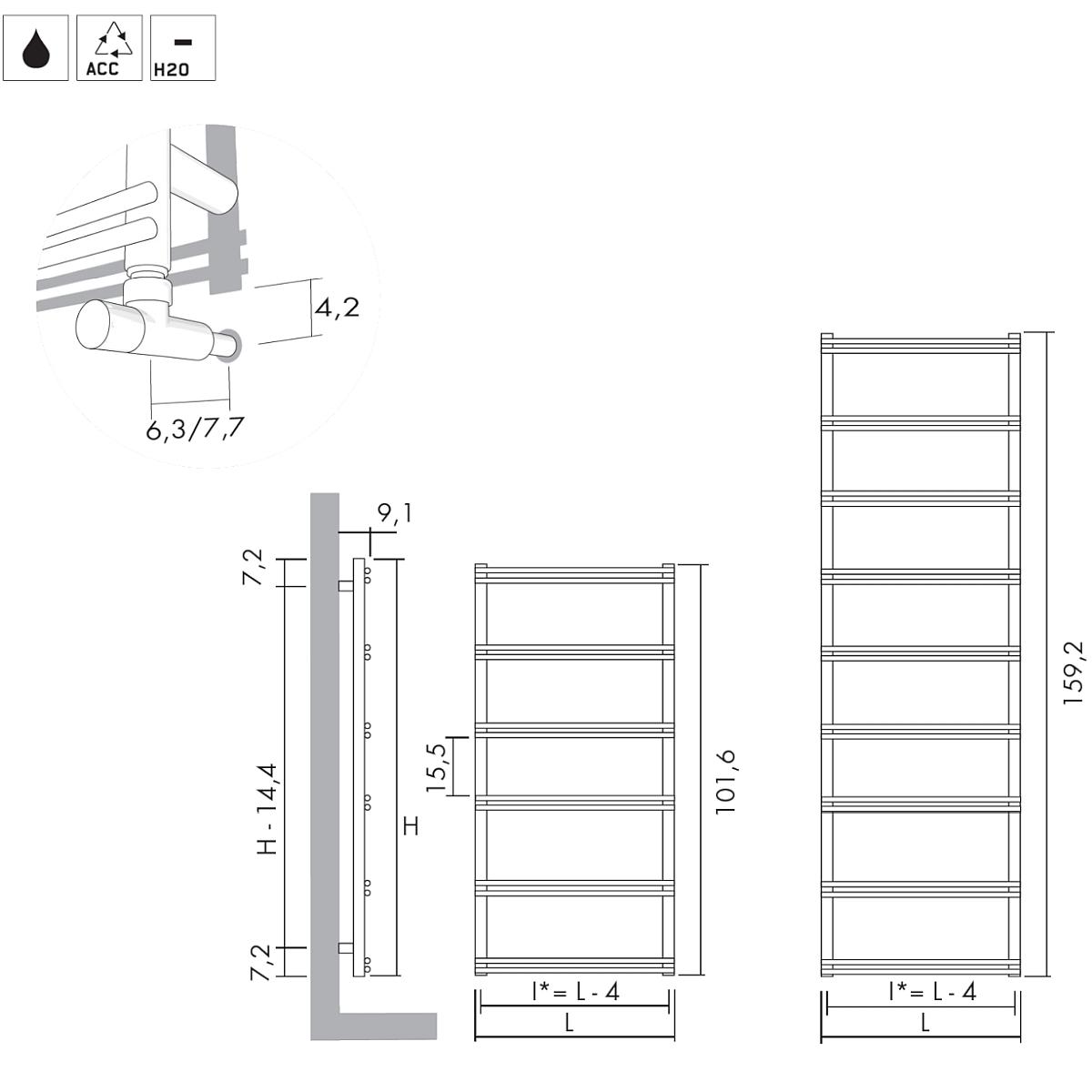 Antrax Design-Heizkörper V8, technische Details