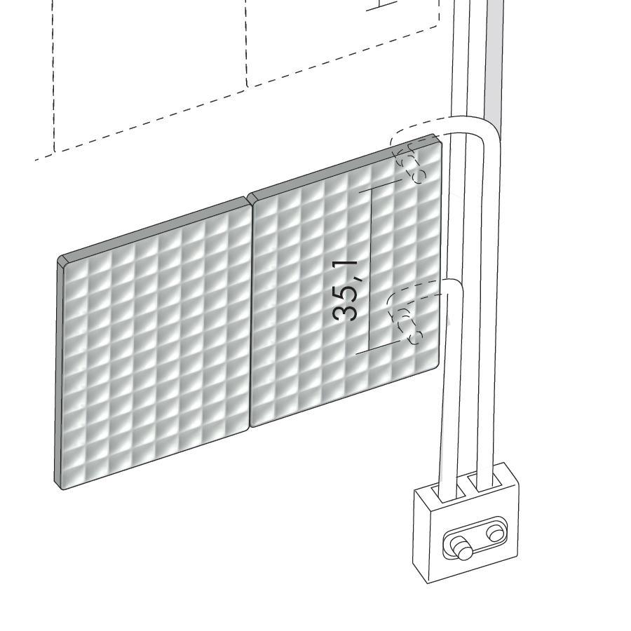Antrax Design-Heizkörper WAFFLE, externer Anschluß, Rohre in der Wand, Einbausatz