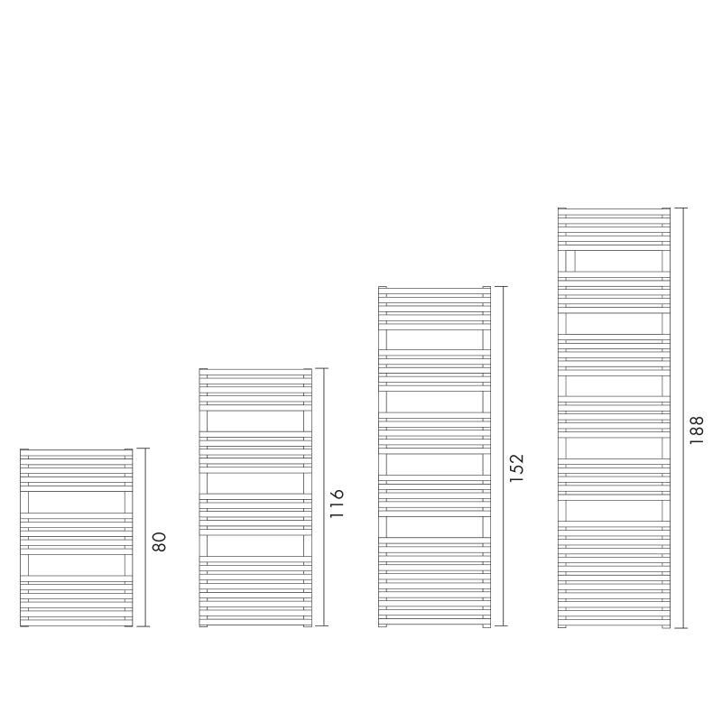Antrax Design-Heizkörper BD 25, alle Höhen in der Übersicht