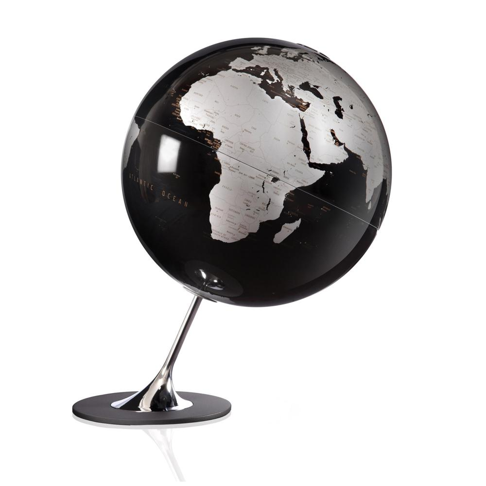 Atmosphere Globus ANGLO BLACK, Meersflächen schwarz / Kontinente silber metallic