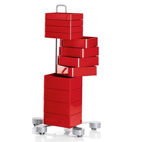 SPINNY Schubladencontainer auf Rollen, rot