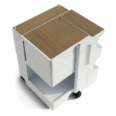 BOBY Rollcontainer Mini mit Abdeckung aus Eichenholz