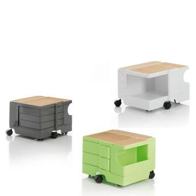 BOBY Rollcontainer Mini mit Abdeckung aus Eichenholz, tornadograu, weiß und limonengrün