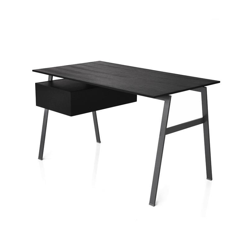 HOMEWORK 1 Schreibtisch mit Einzelschublade links, Eiche schwarz gebeizt, Gestell rauchchrom, Platte Eiche schwarz