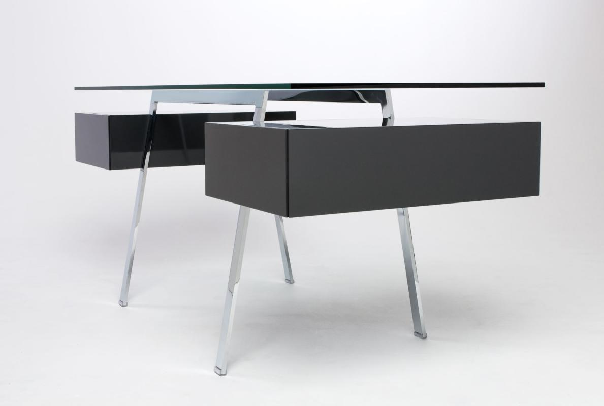 HOMEWORK Schreibtisch HOM2SS, Gestell chrom, Container dunkelgrau hochglanz, Platte Glas