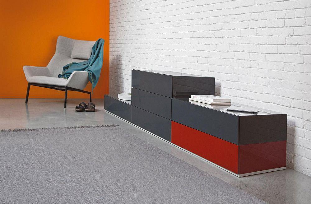 BRIX Module Schubladencontainer, in dunkelgrau und rot