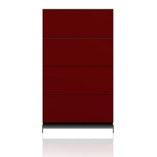 BRIX Kommode S4.K, mit 4 Schubladen, hochglanz lackiert rot