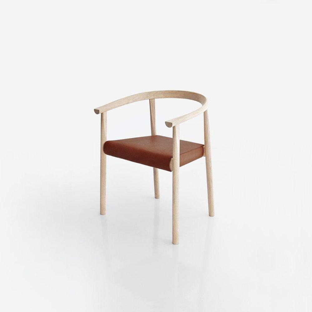 TOKYO Stuhl in Esche weiß, Sitz Leder Honey