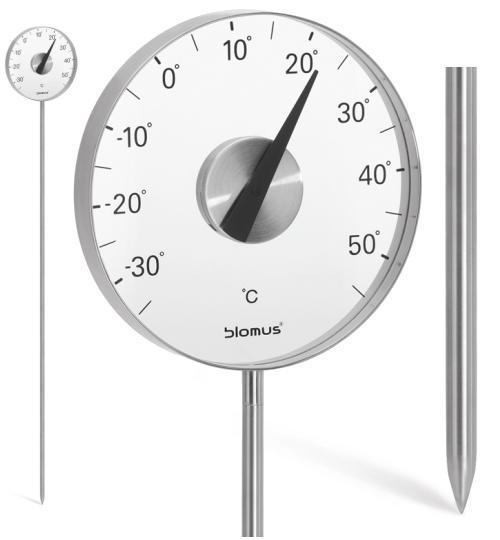 GRADO Gartenthermometer 20 cm, mit Stab, Edelstahl, Anzeige Celsius
