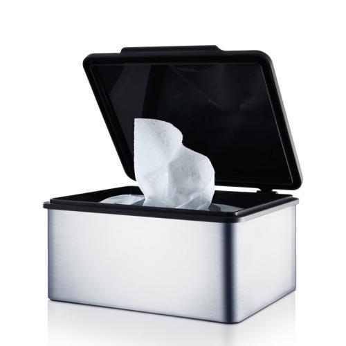 MENOTO Feuchttücherbox Edelstahl matt, Deckel Kunststoff schwarz