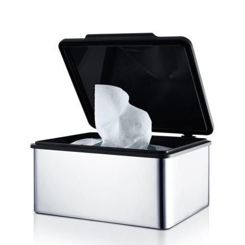 MENOTO Feuchttücherbox Edelstahl poliert, Deckel Kunststoff schwarz