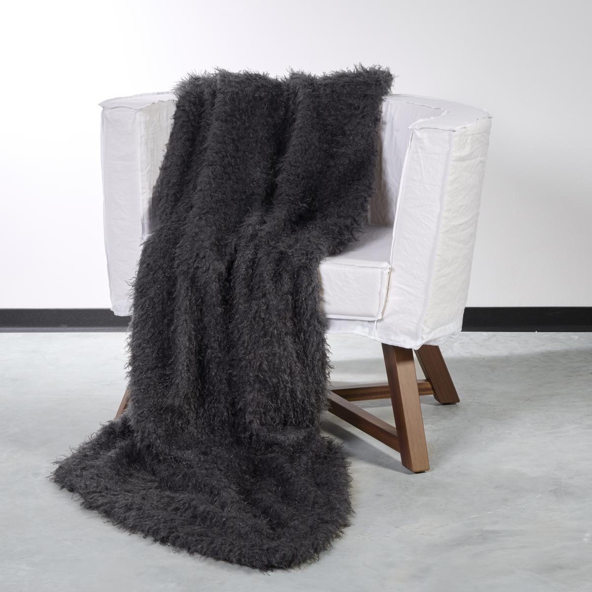 CARMA Plaid Frisé anthrazit 140x180 cm