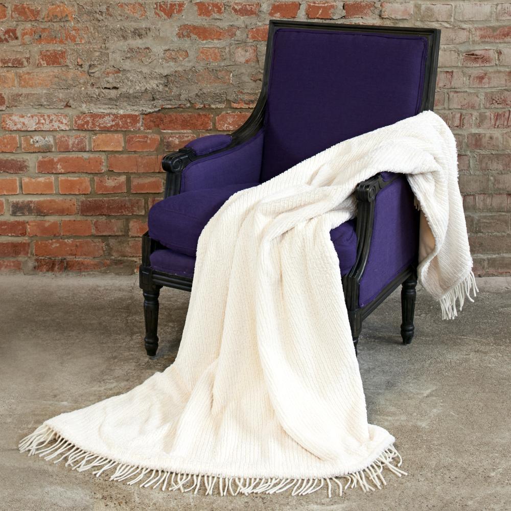 CARMA Plaid Strickkanin white 140x180 cm ohne Fransen