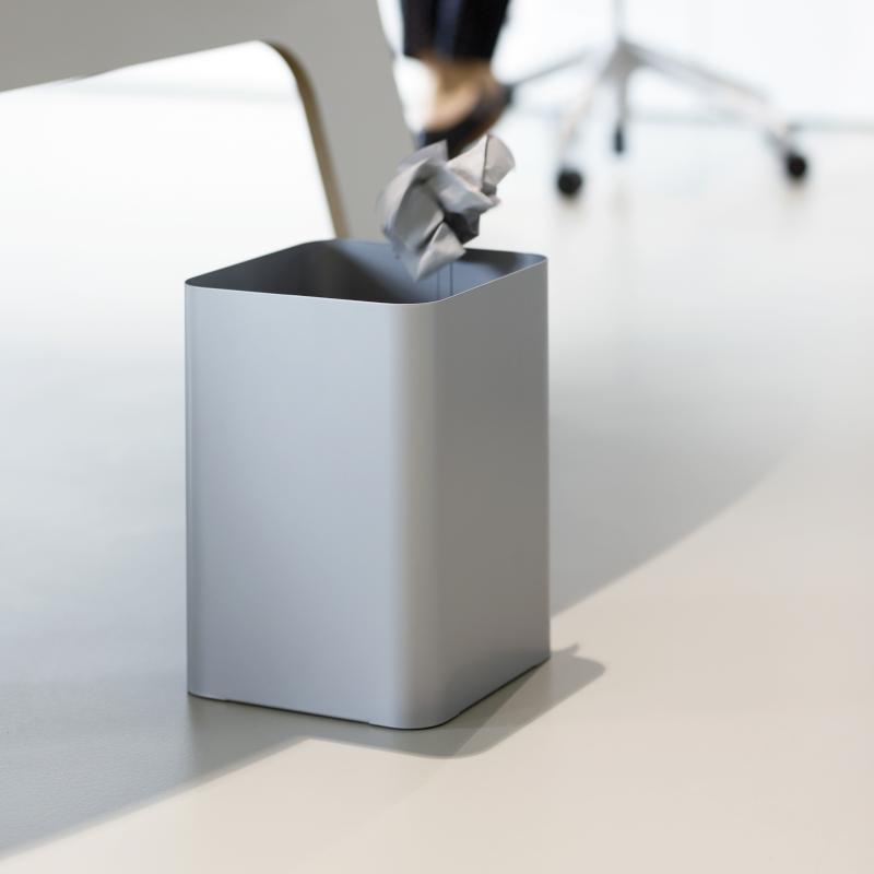 FLOW Papierkorb 35 cm, aluminiumweiß, mit Naht