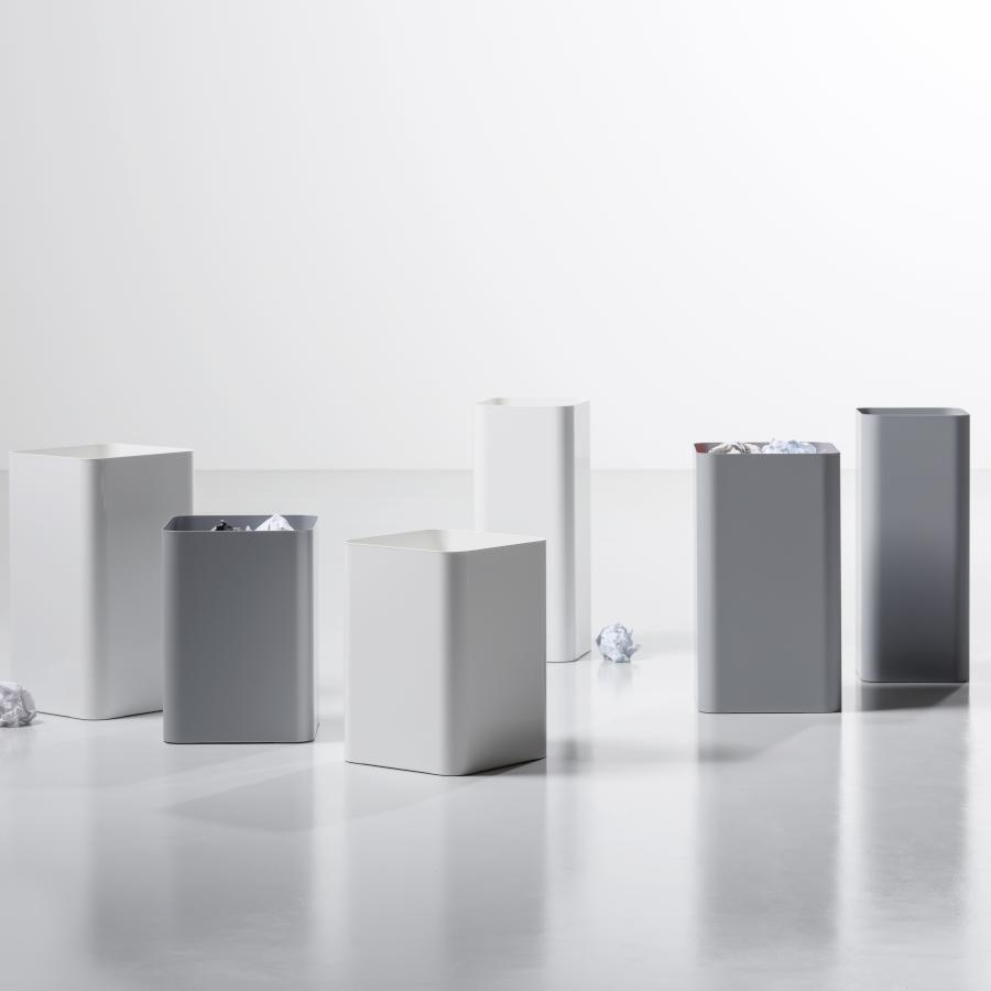 FLOW Papierkorb, alle Größen, weiß oder aluminiumgrau