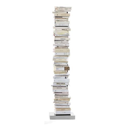 PTOLOMEO Büchersäule freistehend 160 cm weiß/Fuß Edelstahl