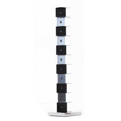 PTOLOMEO Büchersäule freistehend 160 cm schwarz/Fuß Edelstahl