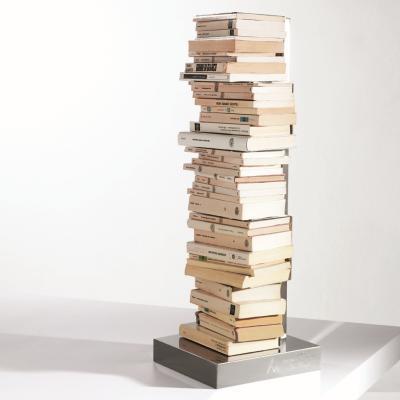 PTOLOMEO Büchersäule freistehend 72 cm weiß/Fuß Edelstahl