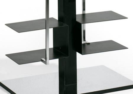 PTOLOMEO X2 Bücherregal schwarz, Fuß Edelstahl