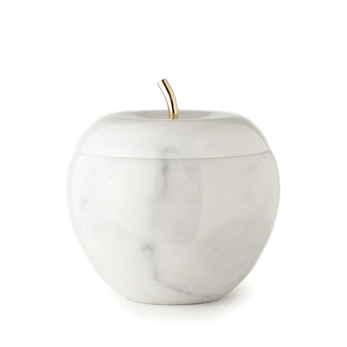 Snow White Marmordose weißer Carrara Marmor, 24K gold