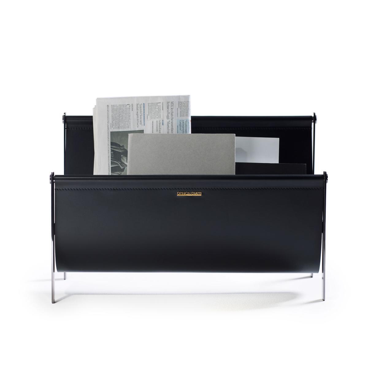 Portariviste Zeitschriftenständer vernickelt hochglanzpoliert und schwarzes Leder